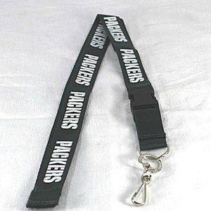 NFL Green Bay Packers Green Lanyard Key Chain W/ D